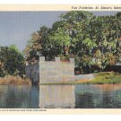GA St Simons Island Fort Frederica Vintage Curteich Postcard