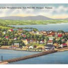 Memphremagog City Lake Aerial View from Pine Hill Newport VT Vintage Linen Postcard