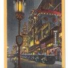 San Francisco CA Night Scene Chinatown Vintage American Express Ad Linen Postcard