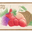 Birthday Greetings Airbrushed Fruit Gold Gilded Basket Embossed Postcard