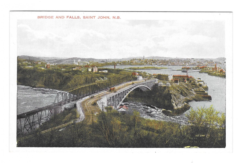 Canada St John New Brunswick Bridge and Falls Vintage Valentine Black Postcard