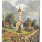 Vintage Novelty Postcard Gold 3D AddOn Antique Auto Car Country Church Scene