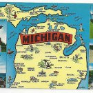 Michigan State Map with Views 1960s Vintage  Multiview Postcard