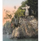 Switzerland Luzern Christus Statue of Christ Lake Lucerne Vintage Postcard