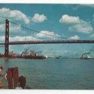 MI Detroit River Ambassador Bridge Windsor Ontario Fishing Lucy Gridley Postcard