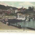 France Trouville Depart du Bateau du Havre La Touques Steamship Harbor Vintage LL Postcard
