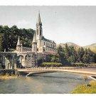 France Lourdes Cathedral Basilique et Gave Bridge River Vtg IRIS Postcard