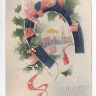Christmas 1908 Postcard Air Brushed Horse Shoe Church Embossed Vintage UND