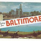 MD Baltimore Greetings Skyline and Cannons Fort McHenry Dual View Vtg Postcard