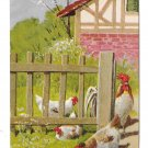 Easter Wishes Chickens Rooster Fenced Yard Embossed Postcard Vintage Posted 1911