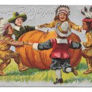 Thanksgiving Children Pilgrims Indians Dancing Pumpkin Silver Background Embossed Postcard