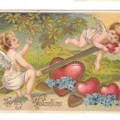 Cupids Cherubs on See Saw Teeter Totter Hearts Vintage Embossed Gilt Valentine Postcard