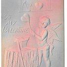 Valentine Cupid Forging Heart on Anvil Embossed Air Brushed 1908 Postcard