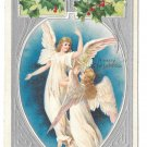 Christmas Angels Holly Embossed Litho Silver Gilt Printed Germany 1907 Postcard