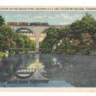 Brandywine River B&O and Augustine Bridges Traom Wilmiington DE 1943 Linen Postcard