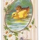 Happy Easter Swimming Ducklings Daisies Gold Frame Vintage Embossed Postcard