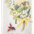 Just a Line in Greeting Bee Lily of Valley Flying Insect Vintage Embossed Postcard