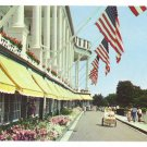 MI Michigan Grand Hotel Mackinac Island Tandem Carriage Front Drive Flags 1960 Postcard