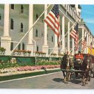 MI Michigan Grand Hotel Mackinac Island Horse Drawn Tour Bus Flags Front Drive
