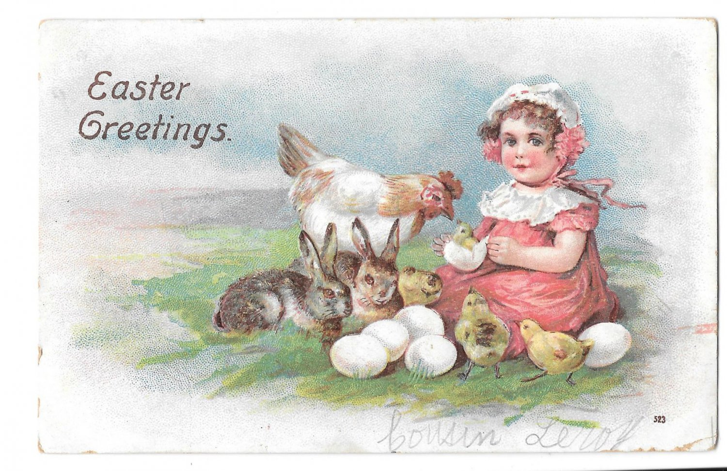 Easter Pretty Girl with Hatching Chicks Hen Bunny Rabbits Embossed Postcard Posted 1907