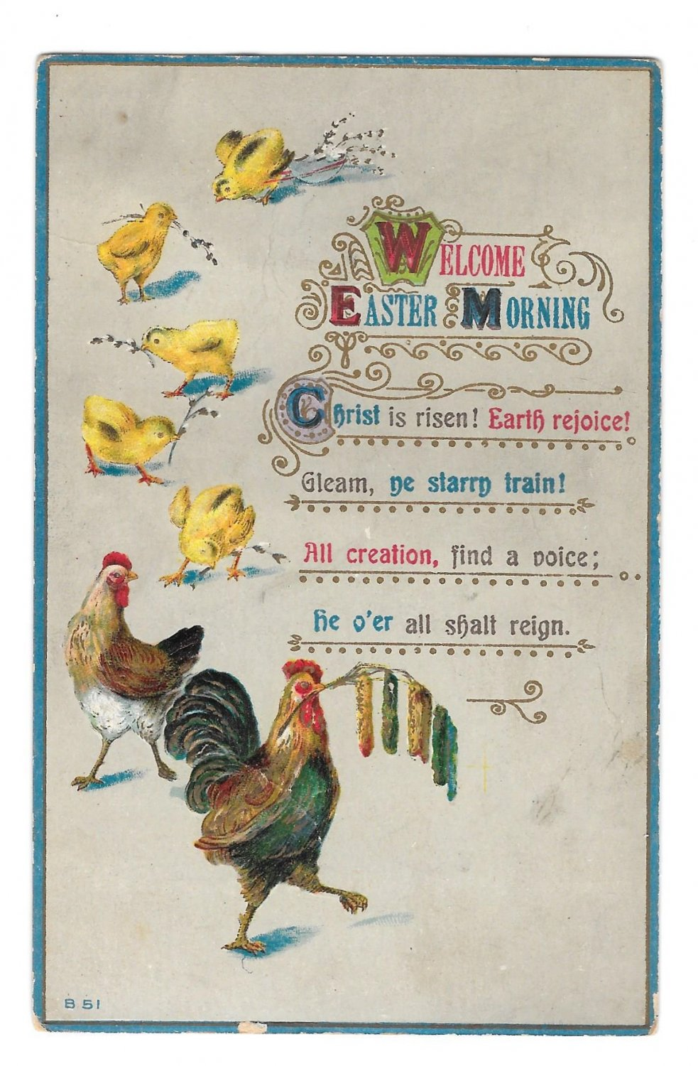 Welcome Easter Morning Embossed Rooster Hen Chicks Vintage Postcard