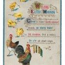 Welcome Easter Morning Embossed Rooster Hen Chicks Vintage Postcard