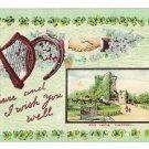 St Patricks Day Shur And I Wish You Well Shamrock Harp Castle Embossed GDD Postcard