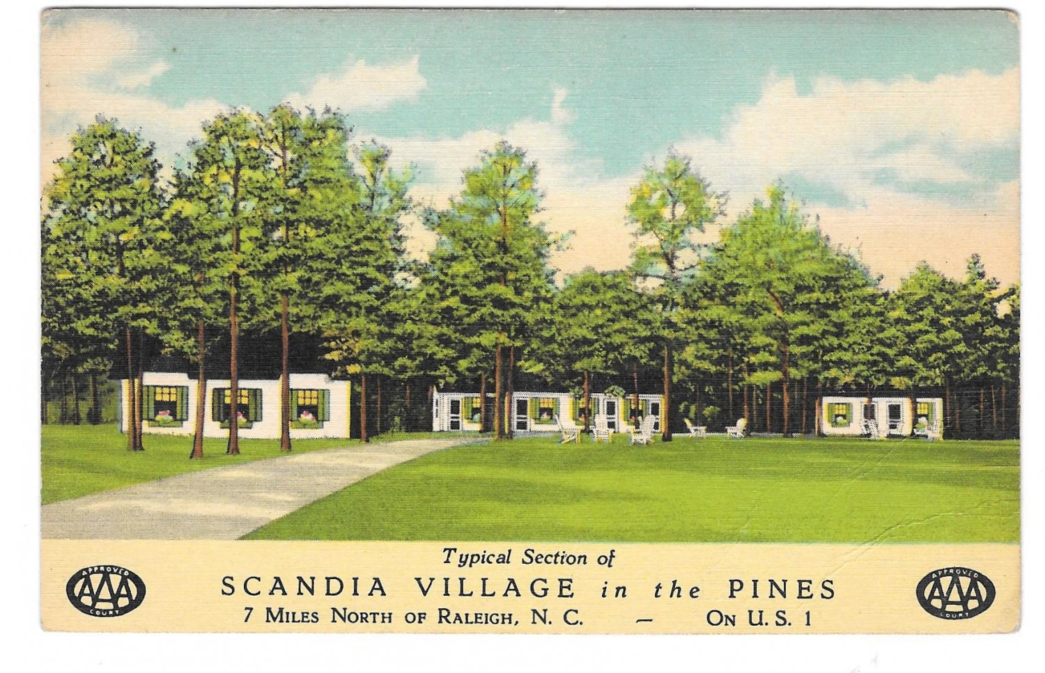 Scandia Village in the Pines US Route 1 Motel Raleigh NC Vintage AAA Postcard