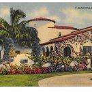 A Beautiful Florida Home Vintage G W Romer Photo Linen Postcard