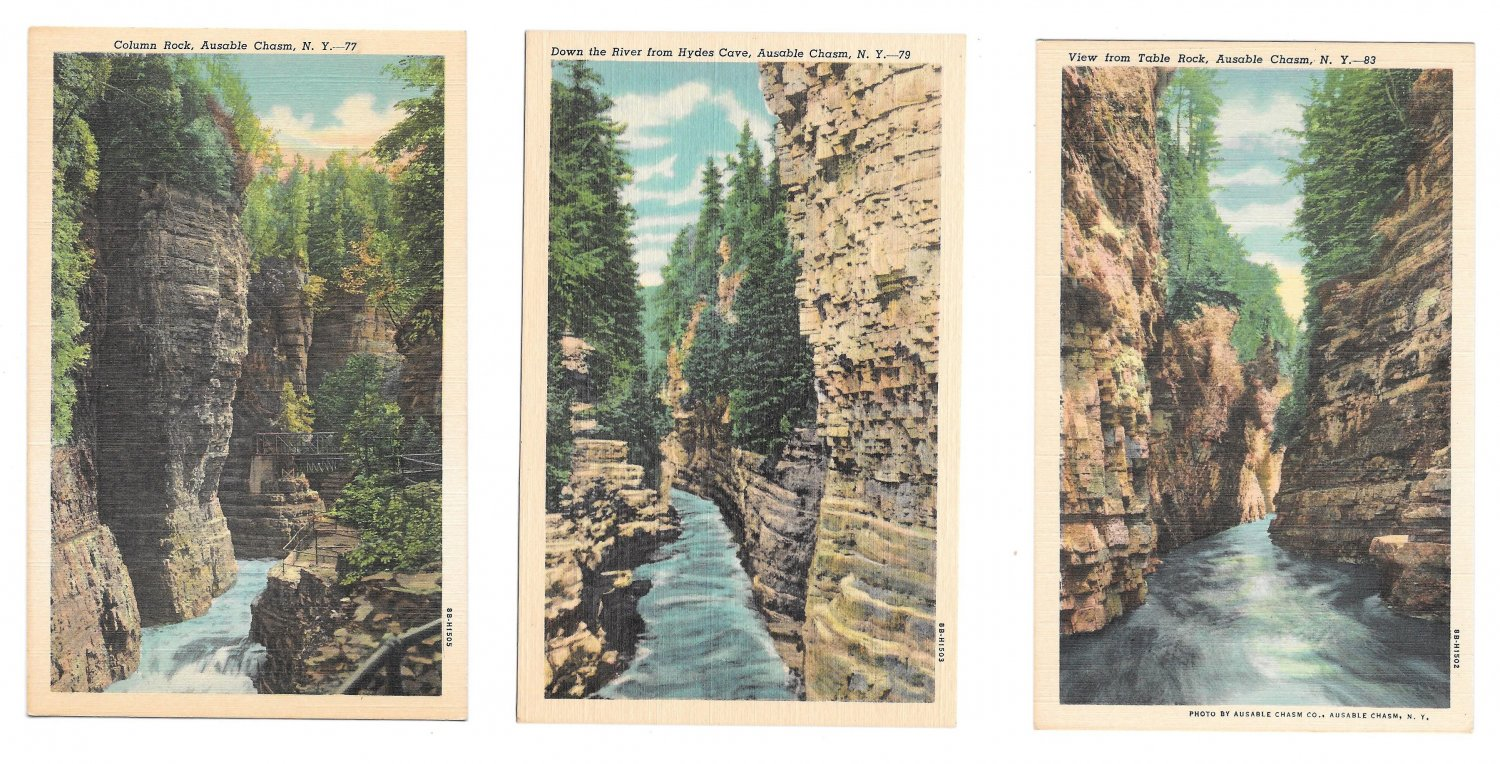 Adirondack Mountains Ausable River Chasm NY 3 Different Views 77 79 83 Linen Postcards