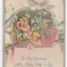 Valentine Poem Postcard Cupids Doves Heart Vintage 1928