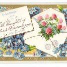 Greetings Remembrance Embossed Vintage Postcard Gilt Clover Forget Me Nots 1910