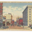 Portland OR Broadway from Madison Looking North New Federal Building Vintage Linen PC