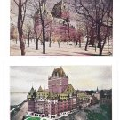 Quebec Canada Chateau Frontenac Birds Eye View and Snow 2 Vintage Postcards QPE