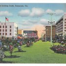 Pensacola Florida Palafox Street Looking South Vintage linen Postcard Curteich