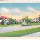 Fort Benning Georgia Rainbow Ave Infantry School Military Vintage linen Postcard
