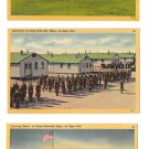 Camp Edwards Cape Cod MA Military Base 3 Vintage Postcards Evening Salute Inspection Bayonet Drill