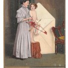 Valentine Pretty Woman Cupid with Bow and arrow in Envelope Julius Bien Embossed Postcard