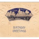 Birthday Greetings Embossed Village Lake Swans Vintage ca 1900 UDB Postcard