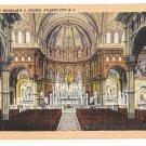 St Nicholas Roman Catholic Church Atlantic City NJ Interior Vintage Linen Postcard