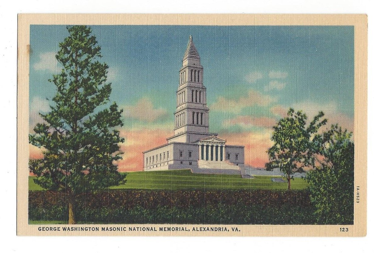 George Washington Masonic National Memorial Shooters HIll Alexandria VA Vintage Linen Postcard