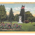 Havre De Grace MD War Memorial City Park Vintage Linen Postcard