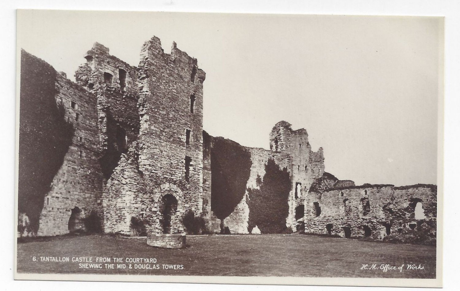 UK Scotland Tantallon Castle from Courtyard Towers H M Office of Works Real Photo PC
