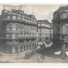 Roma Italy RPPC Via del Tritone Trolley Cars Trams Vtg Real Photo Postcard