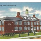 New High School Martinsville VA Vintage Linen Virginia Postcard