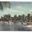 Fort Lauderdale FL New River Boats Yachts Dock Champ Carr Hotel 1950 Linen Postcard