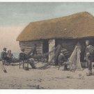 France Etretat Une Caloge Cabin Hut Fishing Boat Nets Vtg Tinted Postcard c 1910