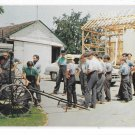 Amish Farmers Time Out from Barn Raising Pennsylvania Dutch Country V Tortora Postcard