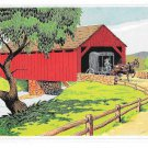 The Covered Bridge York PA Amish Horse Buggy Yorkraft Pennyslvania Dutch Art Postcard