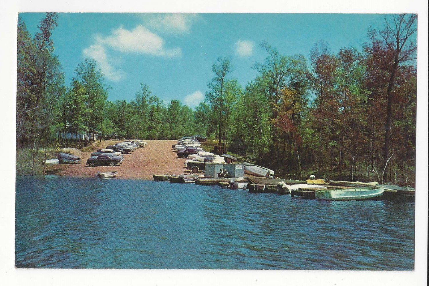 MS Grenada Lake Mississippi Boat Launching Ramp Hugh White State Park Vintage Postcard